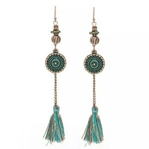 Boho Ethnic Patina Dangling Earrings